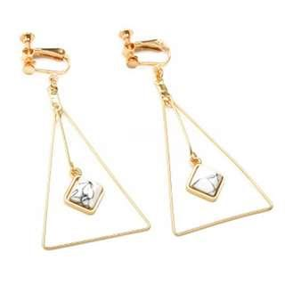 Fake Piercing Earring Clip On Gold Marble Diamond Big Triangle