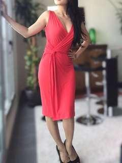 Mango Red wrap dress