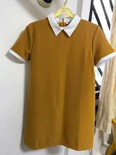 Hollyhoque Collared Dress (Mustard)