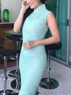 For rent : Mint green lace qipao cheongsam cengsam