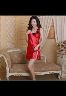 Ready stock sexy satin red lingerie size XL