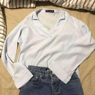 zara blue striped shirt