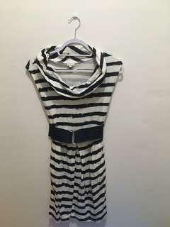 Dress with blue & white stripes