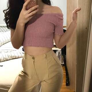 mauve off shoulder top