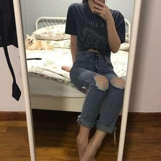 highwaisted ripped mom jeans