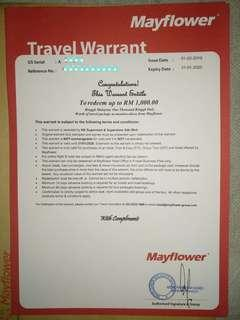 #SparkJoyChallenge Mayflower Travel Warrant (expired date : 31JAN 2020)