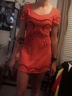 Friend Of Mine Orange Cut Out Dress
