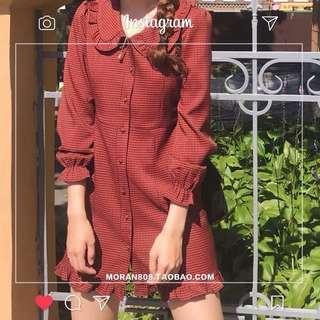 法式韓國小清新連身裙