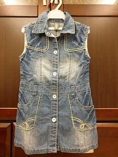 🚚 軟牛仔刷白背心洋裝(110-120適穿)