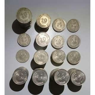 Singapore coins 1967-1981 fish series (180 pieces of 20c coins and 48 pieces of 50c coins)