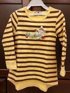 🚚 經典泰迪蜜蜂熊可愛條紋上衣(110cm)