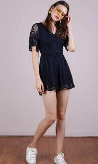 🚚 The Tinsel Rack Miki Mesh Embroidery Romper in Navy