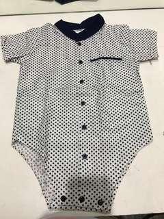 Top bayi laki polkadot putih biru