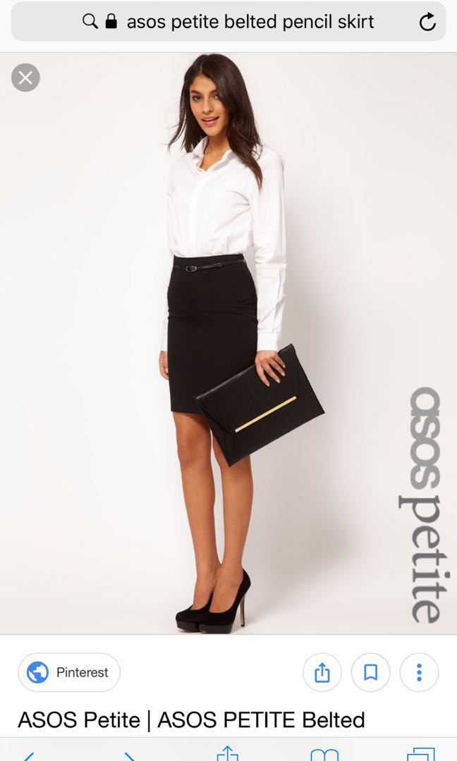 93e8854ce8 ASOS Petite Belted Pencil Skirt Black UK2, Women's Fashion, Clothes ...