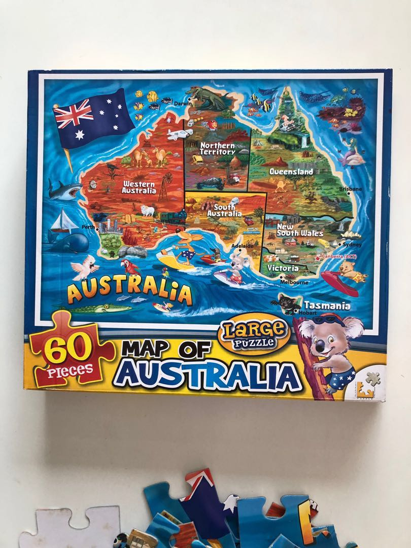 Map Of Australia Jigsaw Puzzle.Australia Map Jigsaw Puzzle 60 Big Pieces Toys Games Others On