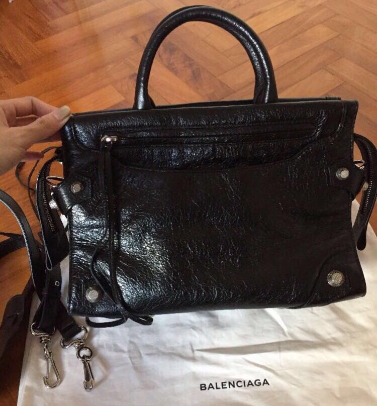 Authentic like new Balenciaga mute city small sling bag - Giant silver  studs w distressed black leather ef18dc7a1157e