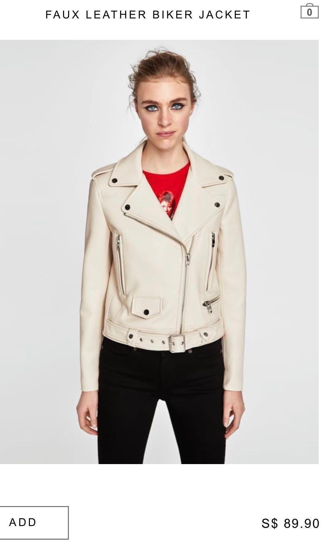 88eaf315b BNWOT Zara Faux leather biker jacket XS, Women's Fashion, Clothes ...