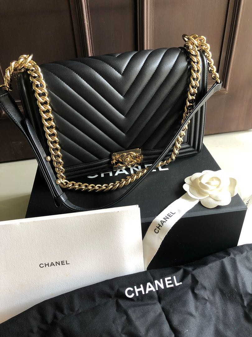 7c43ca68da08fa Chanel Boy Medium, Luxury, Bags & Wallets, Sling Bags on Carousell