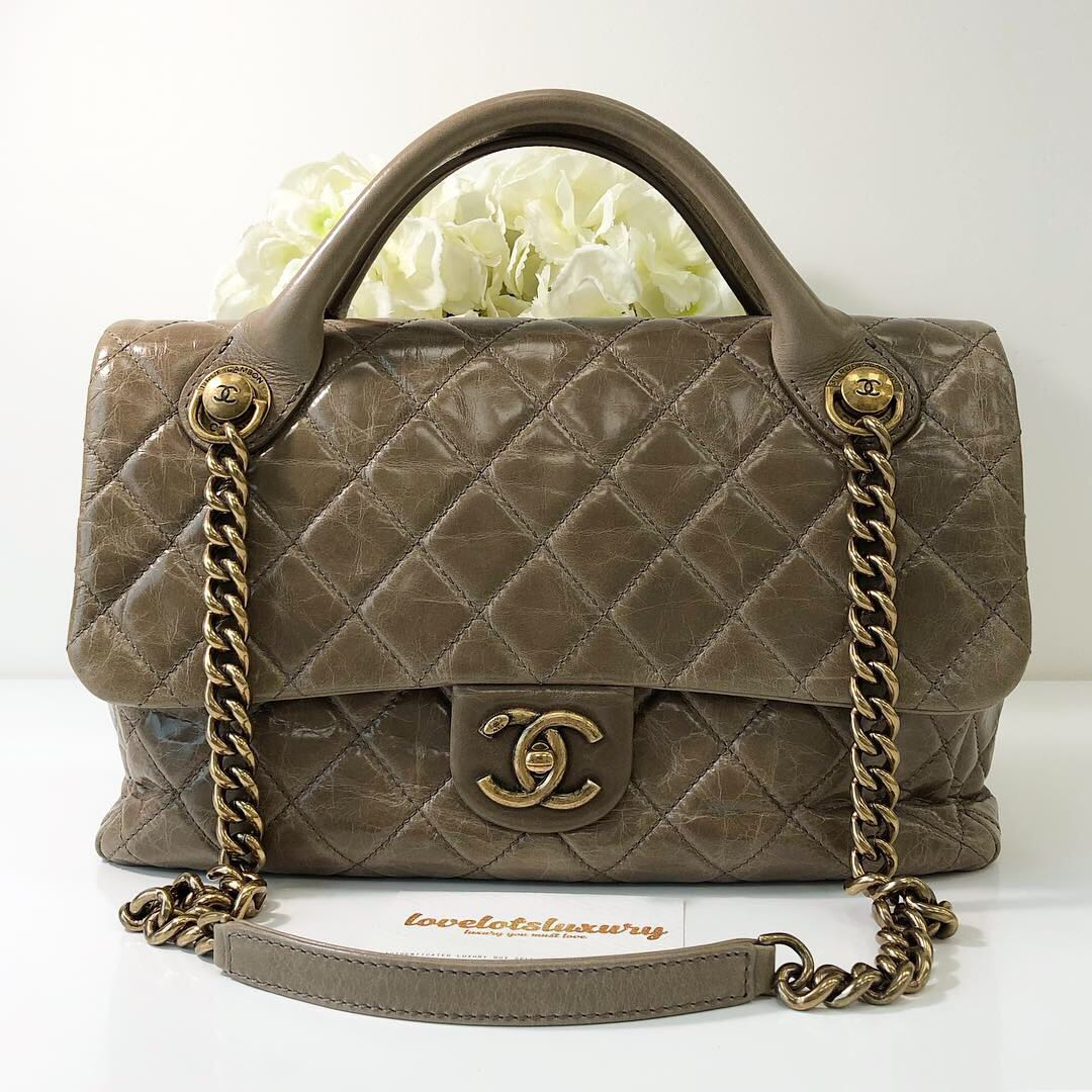 f7f79e6b9f8 Chanel Castle Rock Top Handle Taupe Distressed Aged Calfskin GHW ...