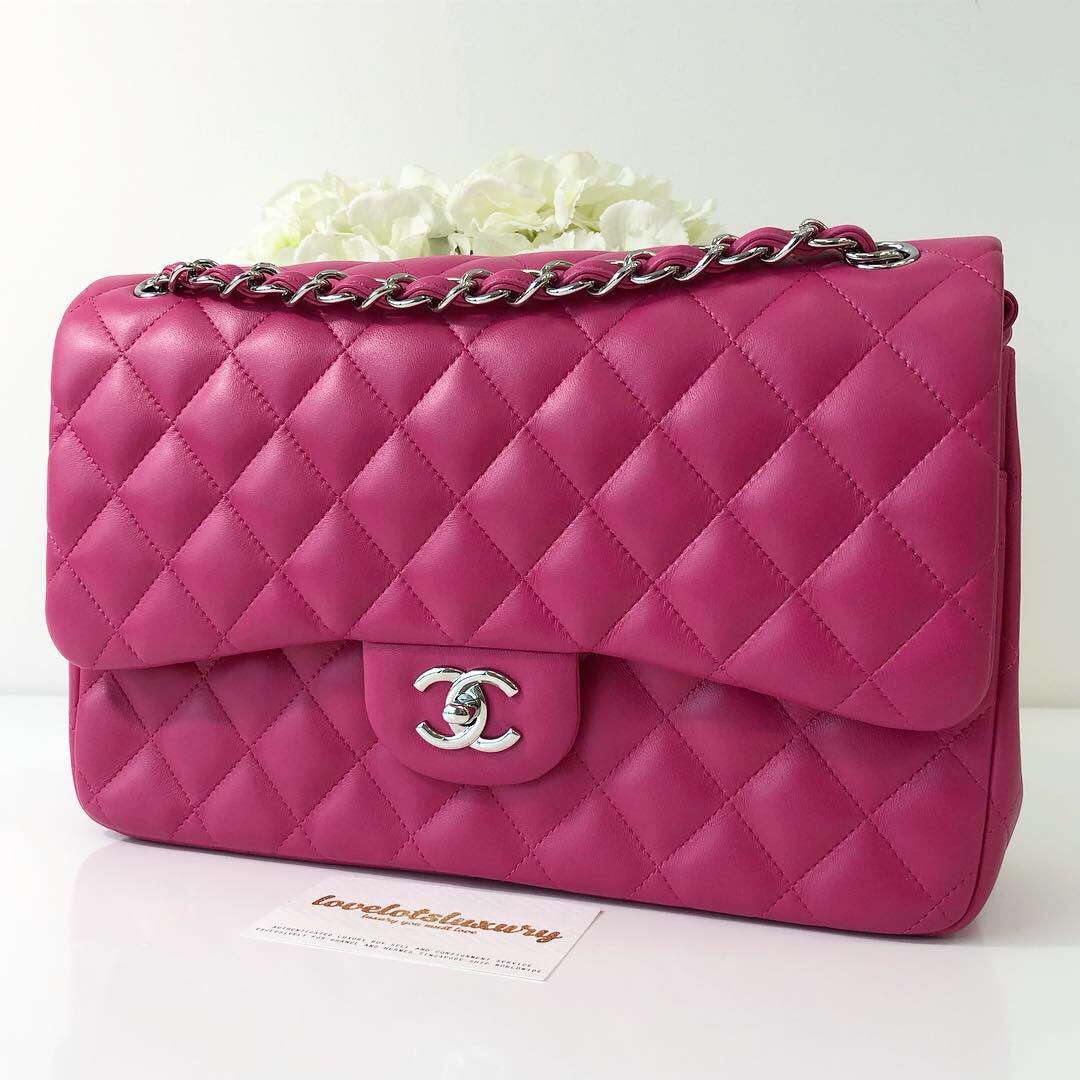 7c4f08604c31 Chanel Classic Quilted Jumbo Double Flap Rose Pink Lambskin SHW ...