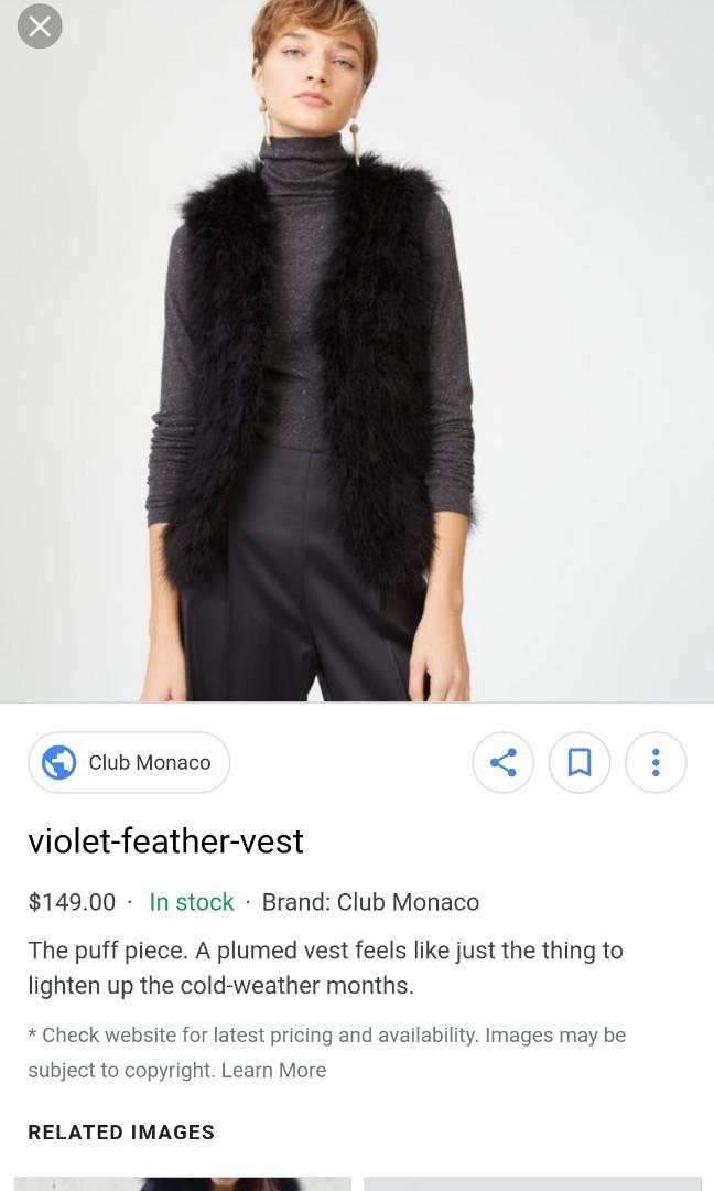 Club Monaco Feather Vest XS Navy