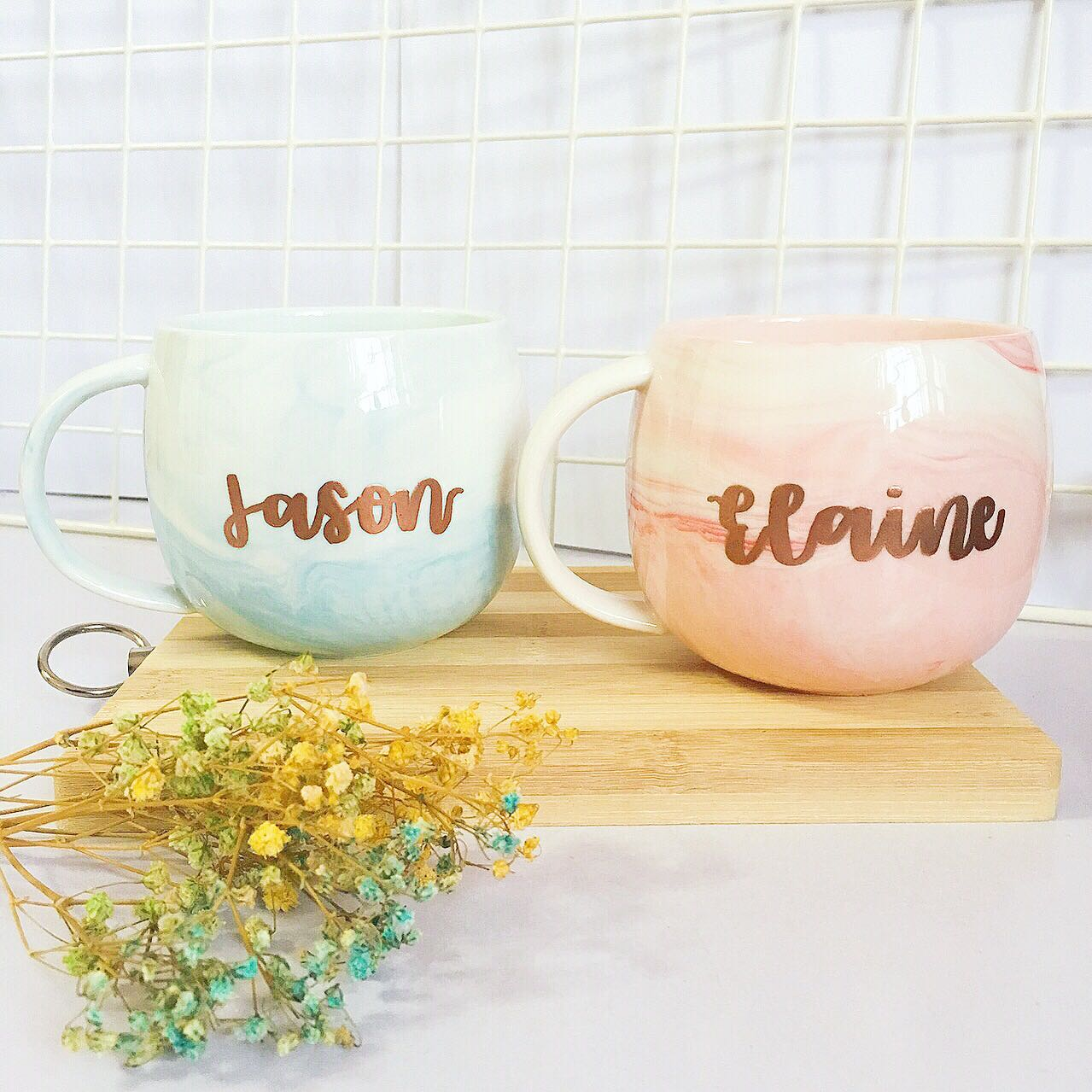 Customisable Marble Mugs Calligraphy Day Wedding Birthday Gift Gifts
