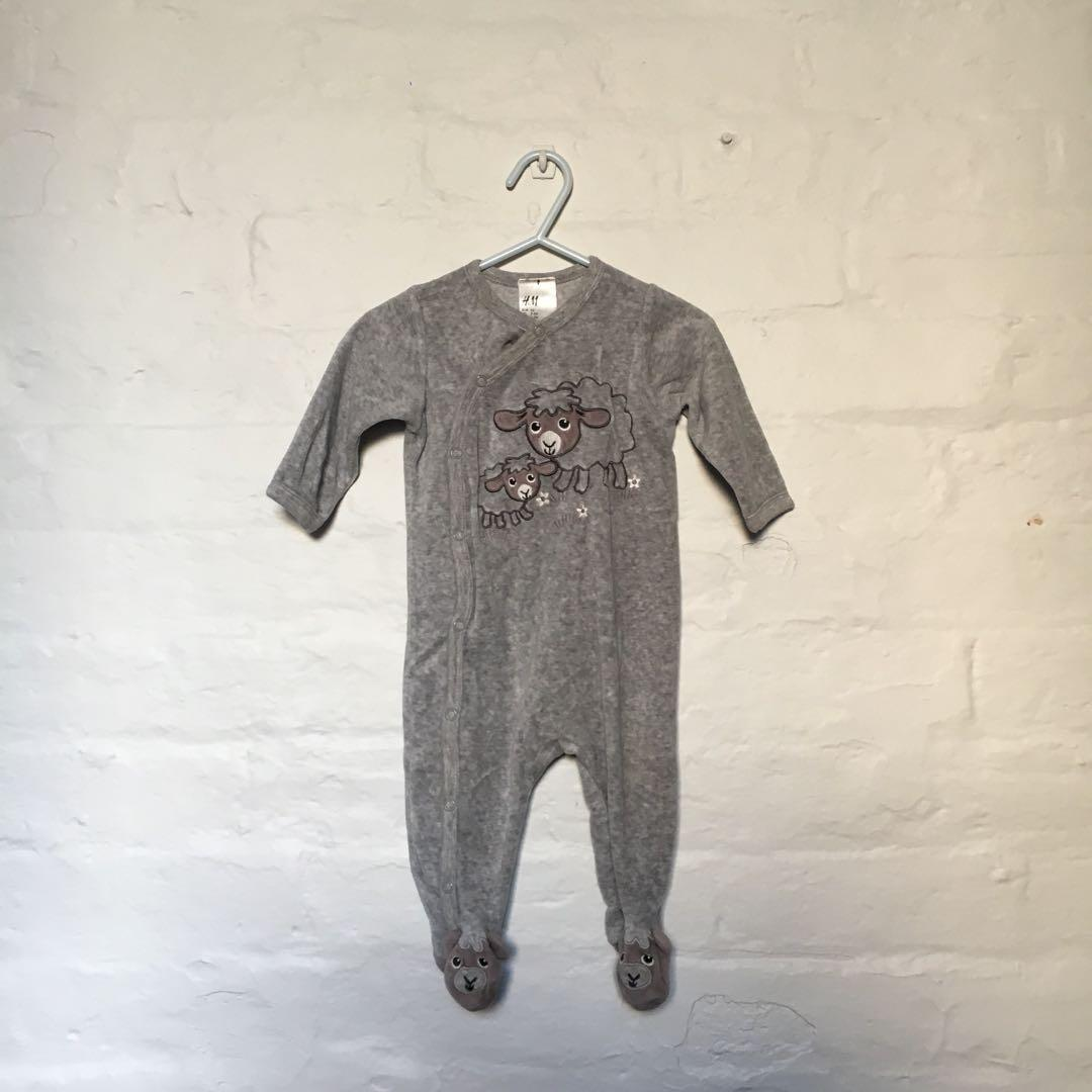 Cutest Grey Velour Baby Onesie | Size 000 ~ 2-4 months