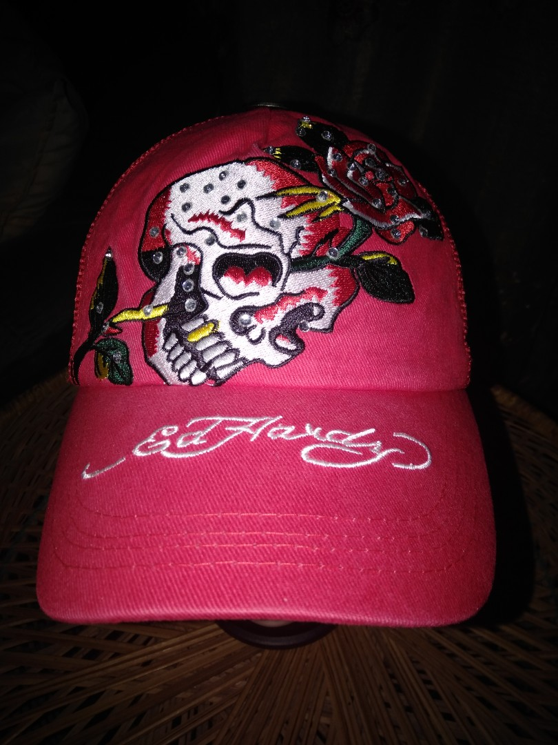 873340947 Ed Hardy Red Cap, Women's Fashion, Accessories on Carousell