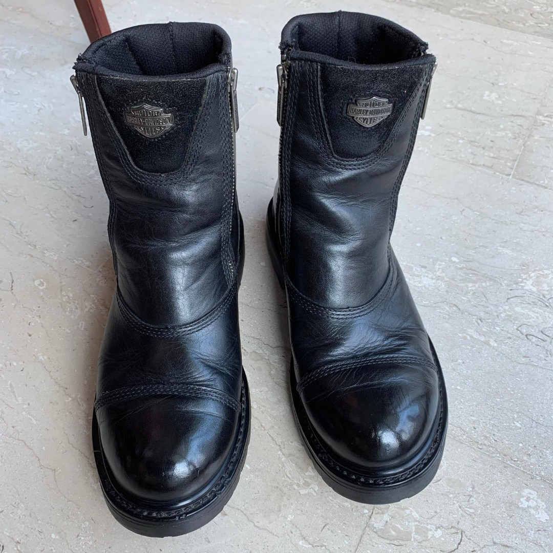 898b5fa7207d Harley-Davidson Men s Black Leather Double Zipper Motorcycle Boots ...