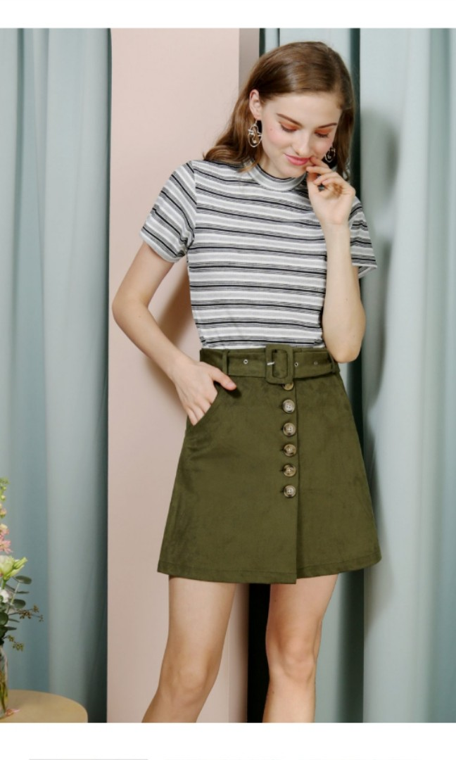 625ec849ac5d04 Hope Button Front Suede Skirt (Olive)