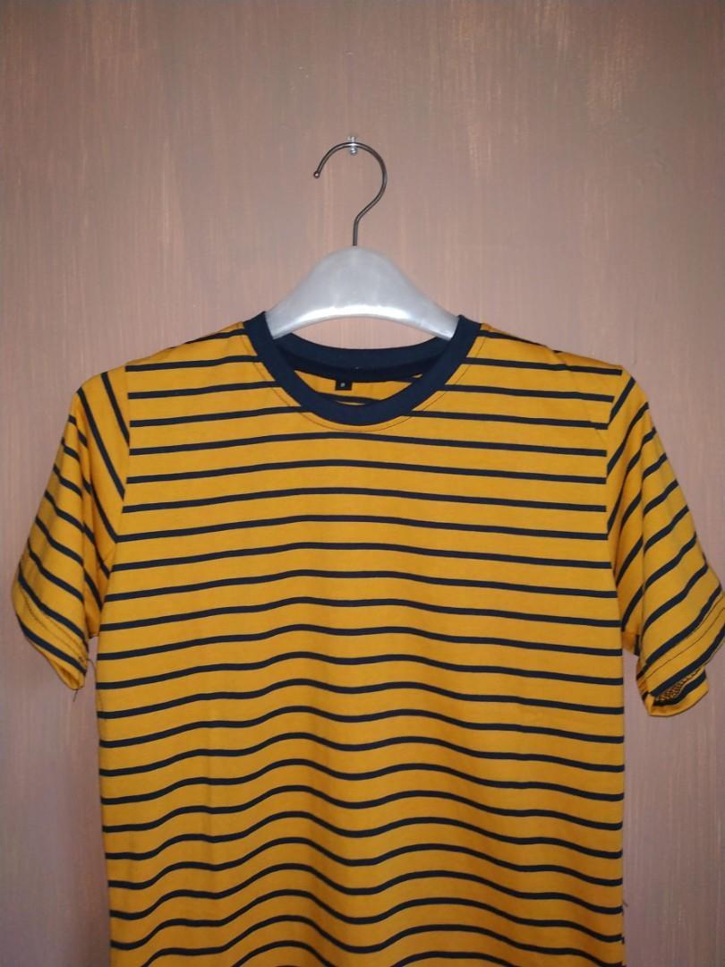 Jual Kaos Stripe Yellow Mustard x Navy