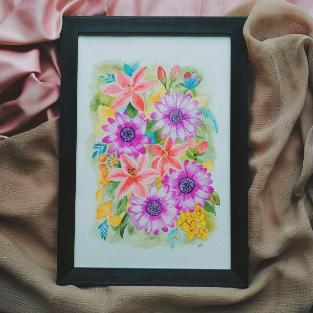 Lukisan Cat Air Bunga Wwwincreiblefotoscom