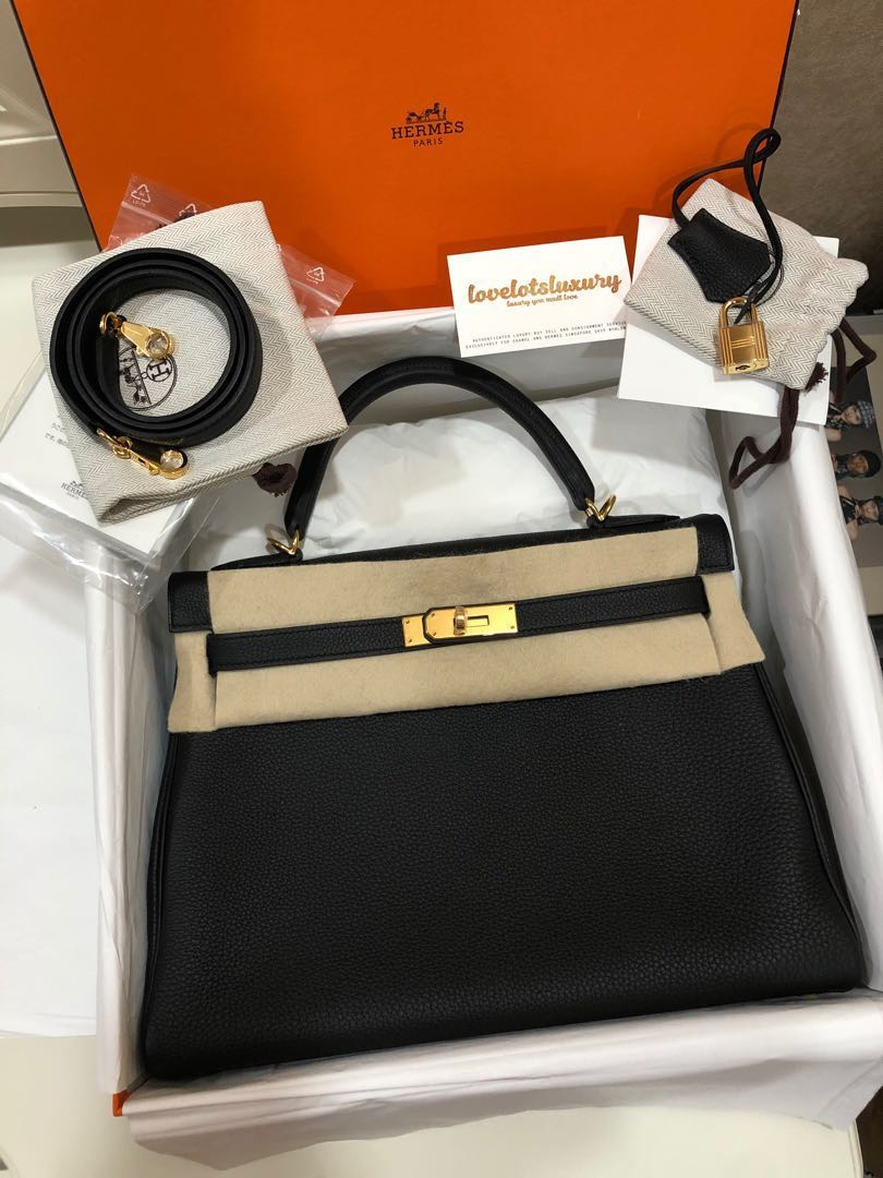 089e5c89c47 New Hermes Kelly Retourne 32 Black Togo GHW