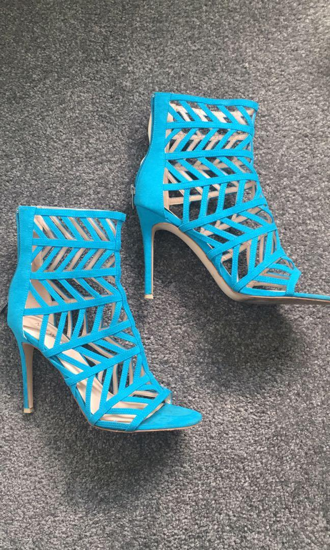 Nine West Nw Alejandro turquoise textile suede heels