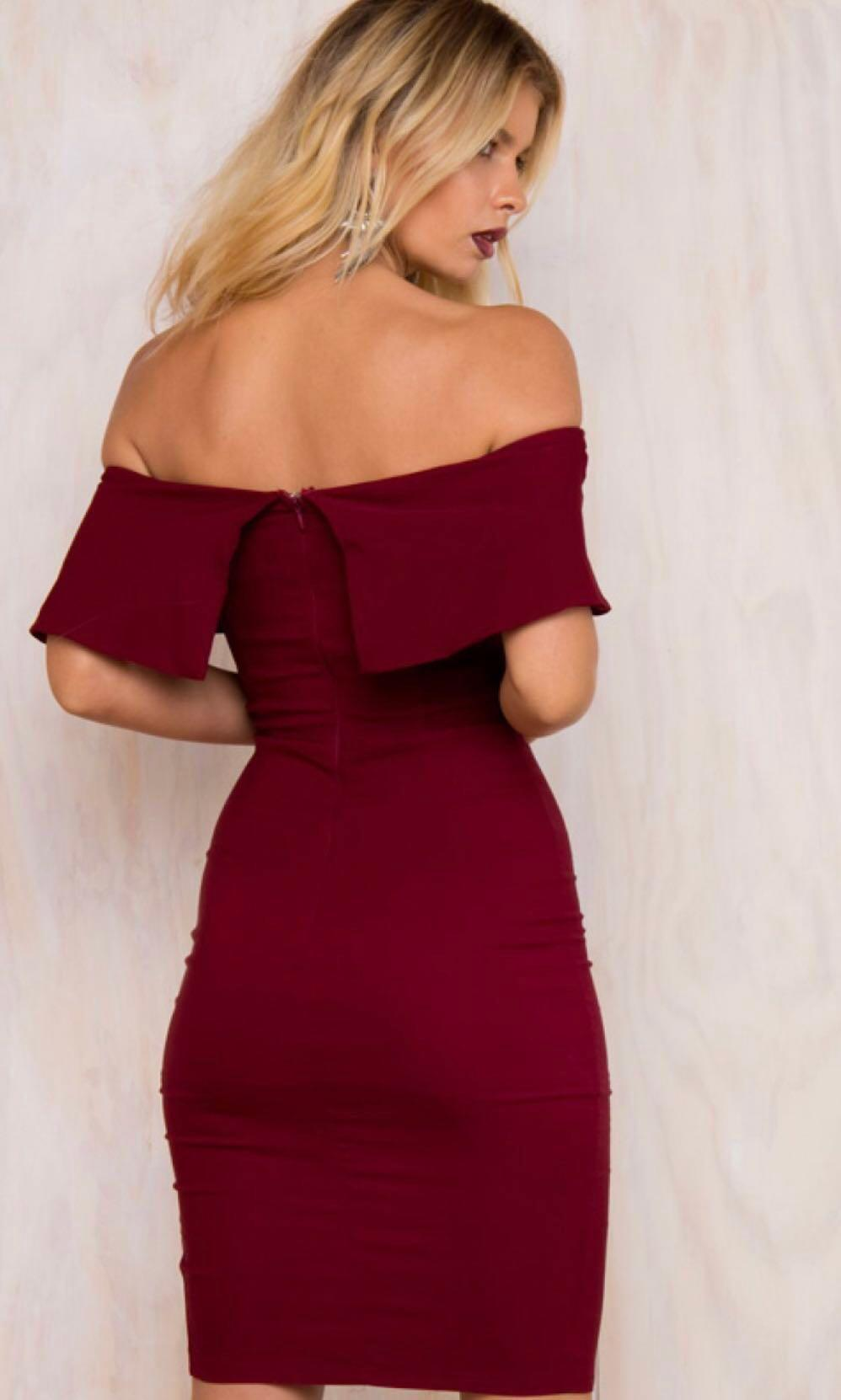 off shoulder slit dress