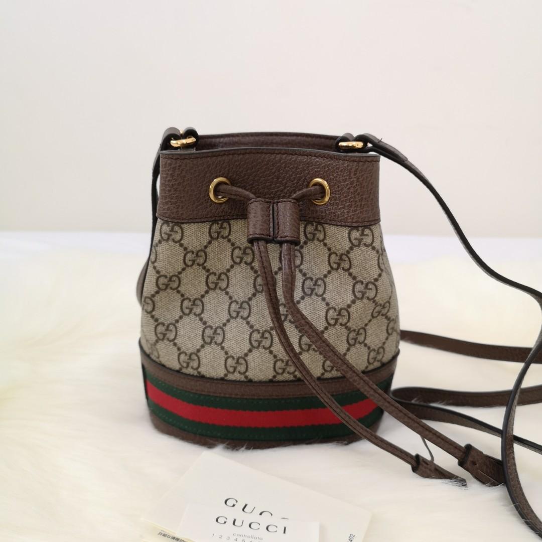 a114a9e798b5 ON SALE  Authentic Gucci Ophidia Mini GG Supreme Canvas Bucket Bag ...