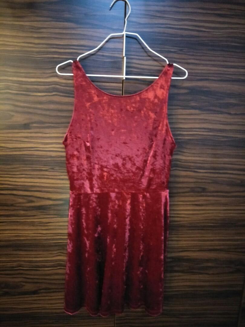 c10b9277db Red velvet v back skater dress