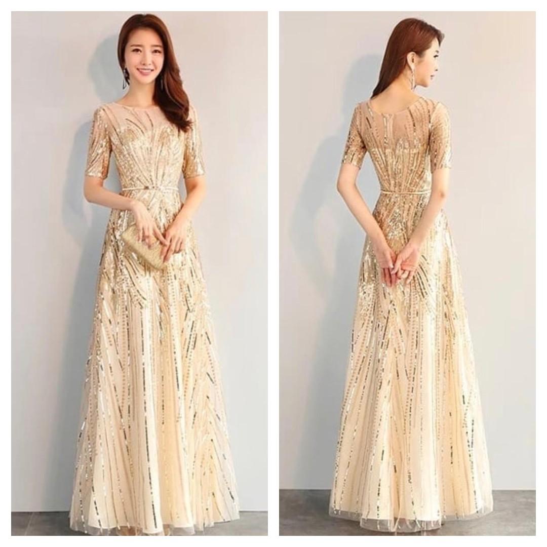 d1684a7a7114 Gold Sequin Evening Dress Long Sleeve