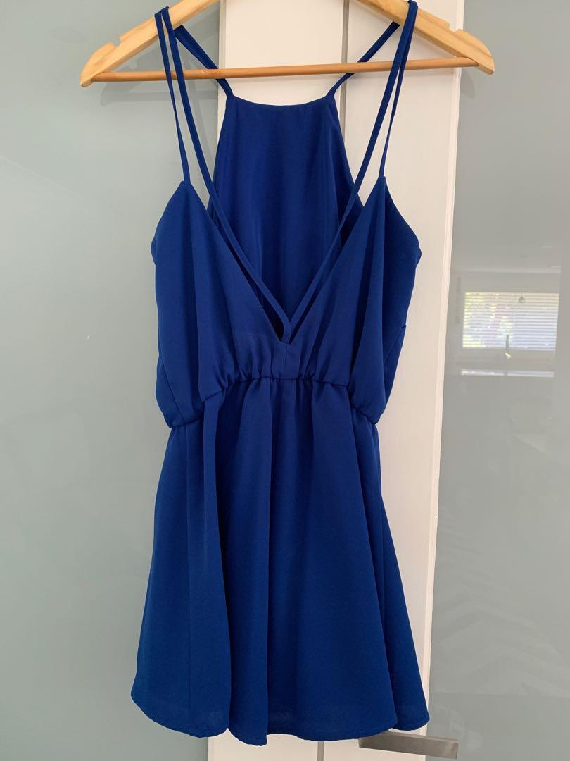 THE FIFTH BRAND royal blue playsuit with low back detail