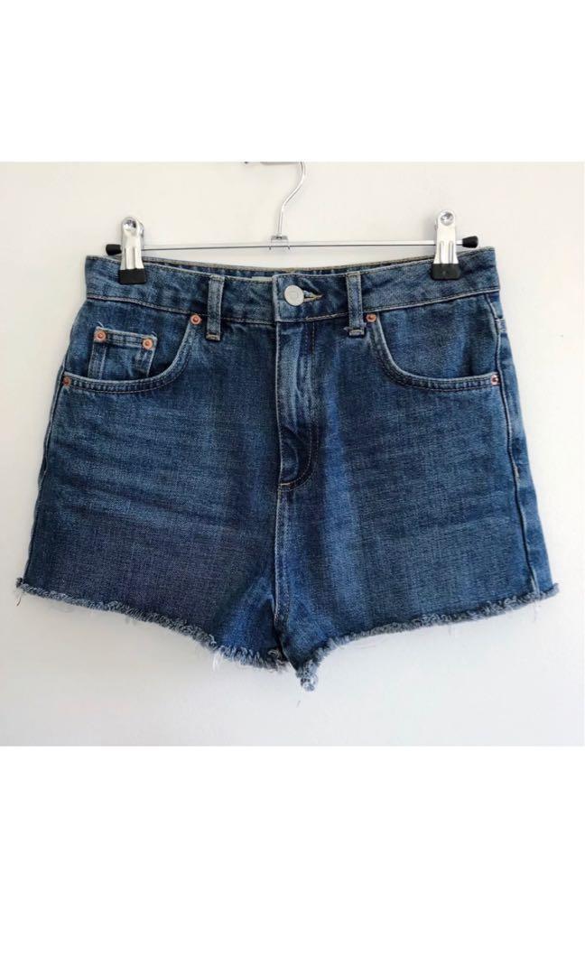Topshop moto mom denim shorts blue high waisted size 8