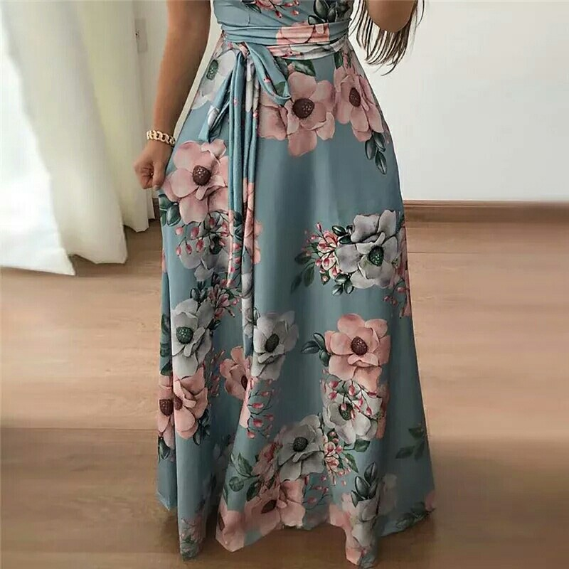 316e94e4a16b Women Dress Casual Short Sleeve Long Dress Boho Floral Print Maxi Dress  Turtleneck Bandage Elegant Dresses Vestido
