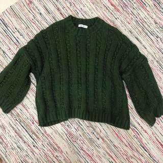 🚚 墨綠色寬袖針織毛衣