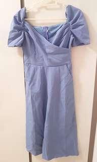 🚚 BN Periwinkle Blue Off Shoulder Puffy-sleeved Jumpsuit
