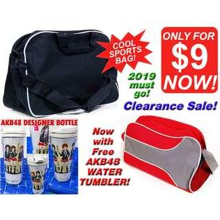 Sports Bag (Cool Jet Black & Trendy Cool Red) *CLEARANCE SALE! Discount Price at less than $10! Now with free gift, ALL MUST GO!*