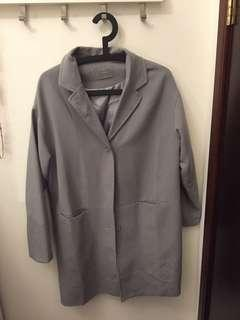 Intique Oversize Ladies Coat with 2 pockets 灰藍色女裝大褸