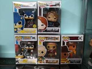 Funko Pop - Freddy, Sonic, chucky child's play, Stan Lee figures