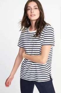 Old Navy Boyfriend navy striped tshirt