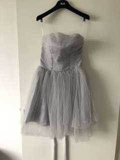 🚚 灰色網紗綁帶蓬蓬裙小洋裝伴娘服小禮服