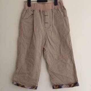 男童米色格紋休閒褲