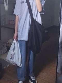 寬松簡約百搭暗扣純色單肩斜挎帆布包